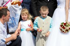 Children at a wedding stock images