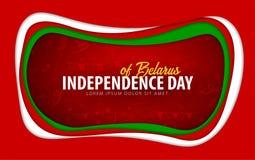 belarus Carte de voeux de Jour de la Déclaration d'Indépendance style de coupe de papier illustration stock