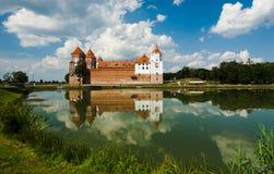 Belarus castle. The lock in Belarussiya in the summer afternoon Royalty Free Stock Photos