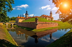 Belarus castle. The lock in Belarussiya in the summer afternoon Stock Photography