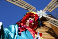 Cheerful Clown. Belarus city of Gomel. The celebration of the national Russian holiday `Farewell to winter carnival` 25.02.2017 year. The festival `Maslenitsa` Stock Image