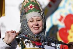 Russian woman in kokoshnik stock photo
