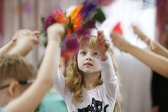 Little girl is dancing stock photos