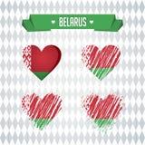 belarus Colección de cuatro corazones del vector con la bandera Silueta del corazón stock de ilustración