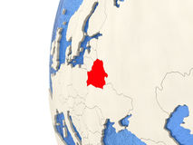 Belarus on 3D globe. Map of Belarus on globe with watery blue oceans and landmass with visible country borders. 3D illustration Stock Photo