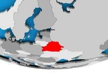 Belarus on globe. Belarus on 3D model of political globe. 3D illustration Royalty Free Stock Photo