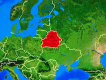 Belarus on Earth with borders. Belarus from space on model of planet Earth with country borders and very detailed planet surface. 3D illustration. Elements of royalty free stock photo