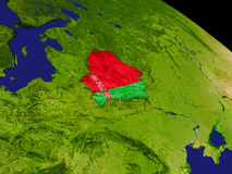 Belarus with flag on Earth Royalty Free Stock Photo