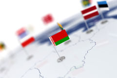 Belarus flag in the focus. Europe map with countries flags Royalty Free Stock Photo
