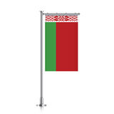 Belarus flag hanging on a pole. Royalty Free Stock Image