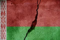 Belarus   FLAG PAINTED ON CRACKED WALL NICE Royalty Free Stock Photo