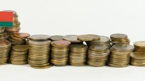 Belarus flag with stack of money coins. Belarus flag waving with stack of money coins stock video