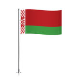 Belarus flag waving on a metallic pole. Royalty Free Stock Photography
