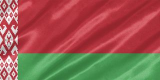 Belarus Flag. With waving on satin texture stock photos