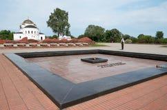 belarus Fortaleza de Brest La entrada principal al monumento de la guerra Centinela de la memoria en la llama eterna de la fortal Fotos de archivo libres de regalías