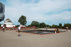 belarus Fortaleza de Bresta Sentinela da memória na chama eterno da fortaleza de Bresta 23 de maio de 2017 Fotografia de Stock