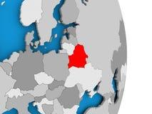 Belarus on globe. Belarus in red on model of political globe. 3D illustration Royalty Free Stock Image