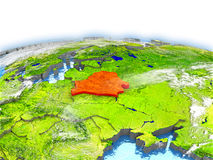 Belarus on globe. Country of Belarus on model of Earth. 3D illustration. Elements of this image furnished by NASA Royalty Free Stock Photography