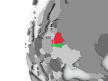 Belarus on globe with flag Stock Photo