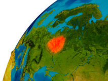 Belarus on globe. Belarus in red on topographic globe. 3D illustration with detailed planet surface. Elements of this image furnished by NASA Stock Photography