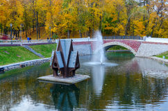 Belarus, Gomel, swan pond in the autumn park Stock Images
