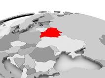 Belarus on grey globe. Belarus in red on grey model of political globe. 3D illustration Stock Photography