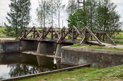 Belarus. The Grodno. Mir Castle is a museum and castle complex. Wooden bridge on the territory of the castle. May 22, 2017 Royalty Free Stock Images