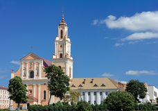 Belarus, Grodno. View of the Church and the Bernardine Monastery from the Grodno Drama Theater. stock photos