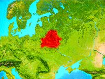 Belarus in red on Earth. Belarus highlighted in red on planet Earth. 3D illustration. Elements of this image furnished by NASA Royalty Free Stock Images