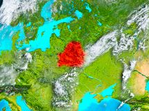 Belarus in red on Earth Stock Photos