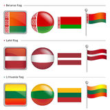 Belarus and Latvi, Lithuania Flag Icon. The world national Icon Stock Images