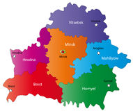 Belarus map. Designed in illustration with regions colored in bright colors and with the main cities. Neighbouring countries  are in an additional format (.AI) Stock Images