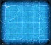 Belarus map blue print artwork illustration silhouette Stock Photography