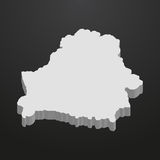 Belarus map in gray on a black background 3d Stock Images