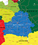 Belarus map. Highly detailed vector map of Belarus with administrative regions, main cities and roads Stock Images