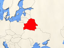 Belarus on map. Belarus in red on political map with watery oceans. 3D illustration Royalty Free Stock Photos