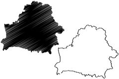 Belarus map vector. Illustration, scribble sketch Byelorussia Stock Photography