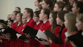 BELARUS, MINSK - 8 APRIL, 2015: Children's choir concert in the Belarusian Philharmonic