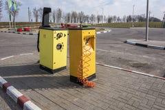 The compressor for pumping of tires and a vacuum cleaner Minsk,. Belarus, Minsk-April 10, 2018: Compressor for car tires pumping and vacuum cleaner at gas royalty free stock image