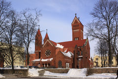 Belarus. Minsk. Church of Saints Simon and Helena. Church of Saints Simon and Helena or red church Royalty Free Stock Photography