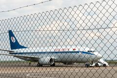 Belarus, Minsk, July 3, 2021: Emergency landing of the aircraft. Act of air piracy and terrorism. The plane is on the runway.