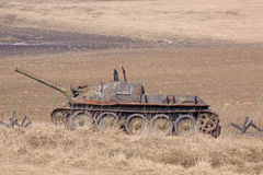 Belarus. Minsk. The museum of former Stalin Line. Rusty anti-tank Royalty Free Stock Images