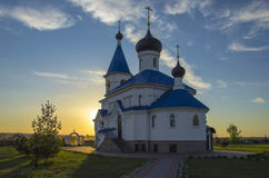 Belarus, Minsk: orthodox St. Nicholas Church in beams of the setting sun. Royalty Free Stock Photography
