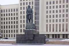 Belarus. Minsk. Parliament building and Lenin's monument Royalty Free Stock Photos