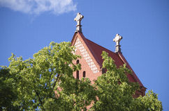 Belarus, Minsk: A red church - St. Simeon and Elena's church (fragment). Royalty Free Stock Image