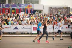 Belarus, Minsk, September 2018: athletes and fans of the Minsk half marathon finish Royalty Free Stock Photo