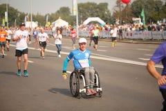Belarus, Minsk, September 2018: athletes and fans of the Minsk half marathon finish. Belarus, Minsk, September 2018: athletes and fans of the Minsk half marathon Royalty Free Stock Image