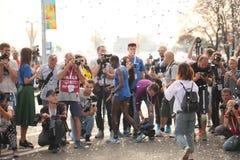 Belarus, Minsk, September 2018: athletes and fans of the Minsk half marathon finish stock photo