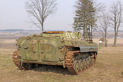 Belarus. Minsk. Soviet old BMP (Armored tracked vehicle) in the museum Stalin Line. Royalty Free Stock Photography