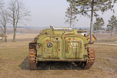 Belarus. Minsk. Soviet old BMP (Armored tracked vehicle) in the museum Stalin Line. Royalty Free Stock Images
